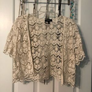 Torrid Cream Lace Cardigan